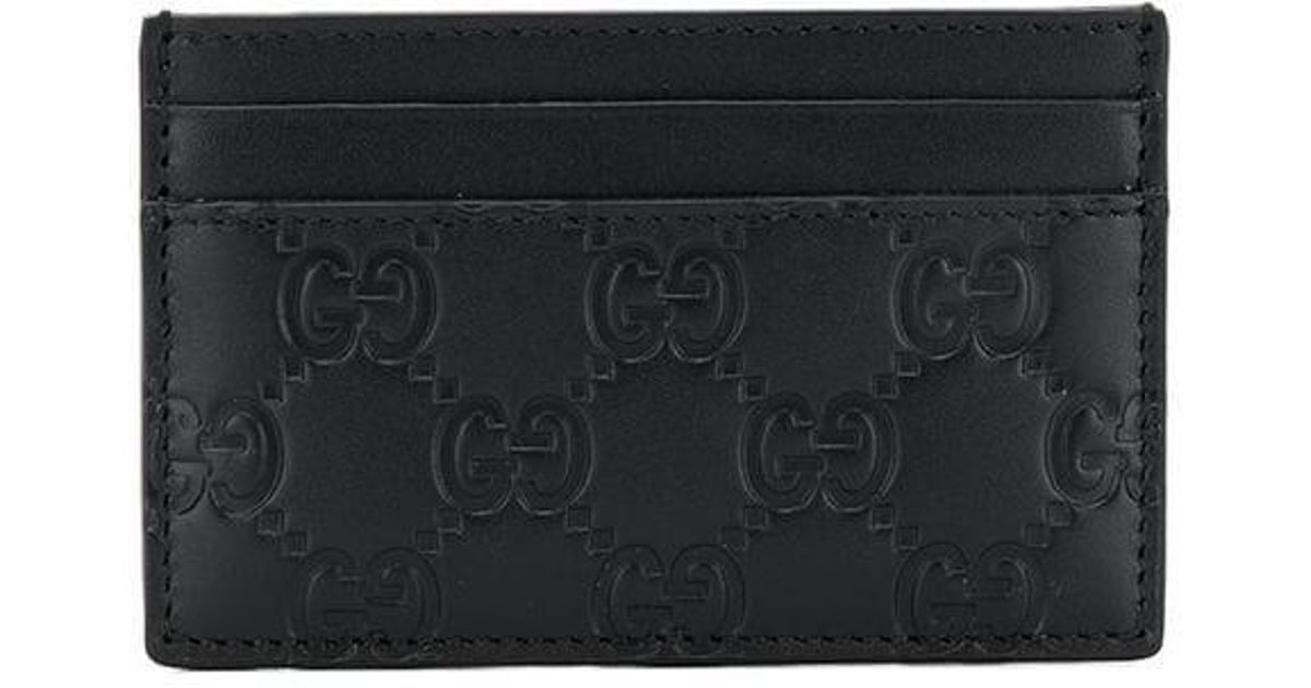 5faae6875f5 Lyst - Gucci Signature Embossed Card Holder in Black for Men
