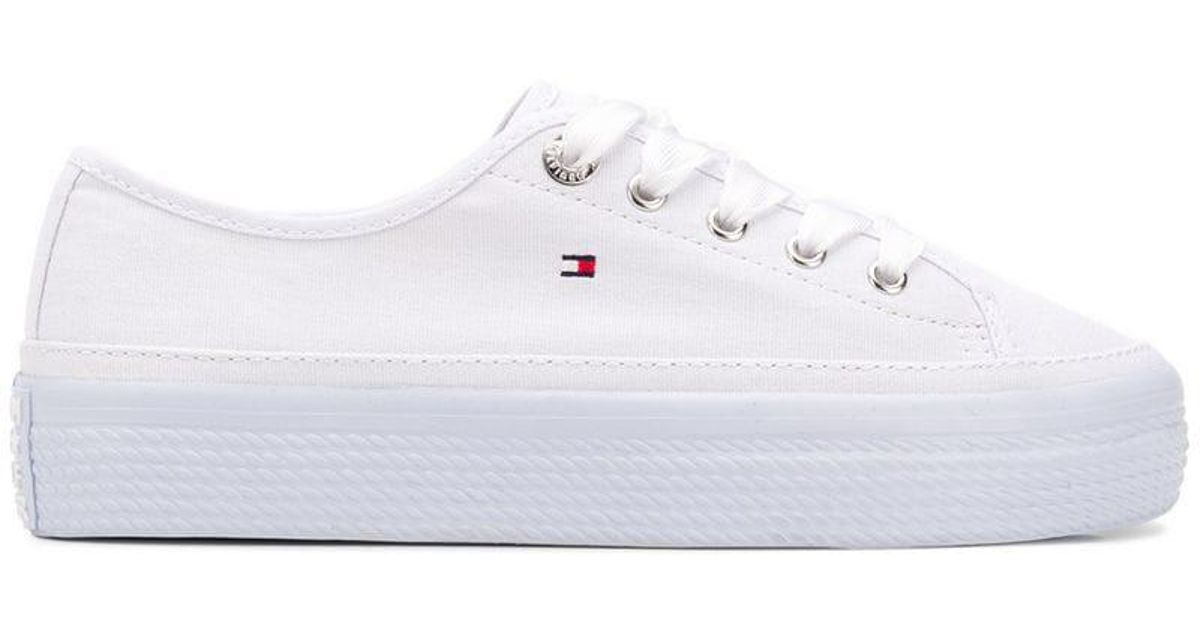 93079dfdb843 Lyst - Tommy Hilfiger Platform Lace-up Sneakers in White