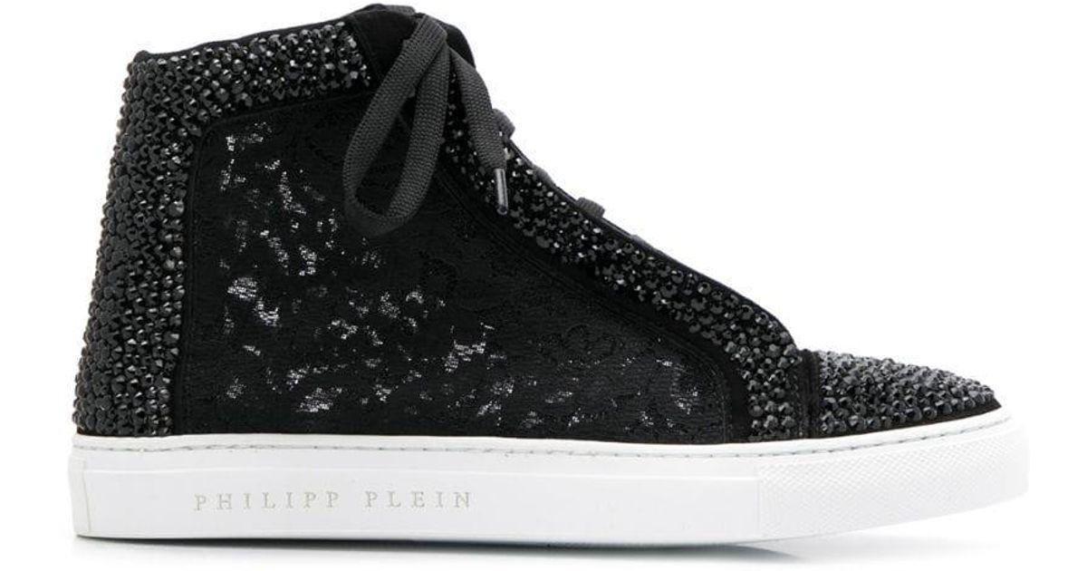 1753dcf310 Philipp Plein Hi-top Sneakers Crystal in Black - Lyst