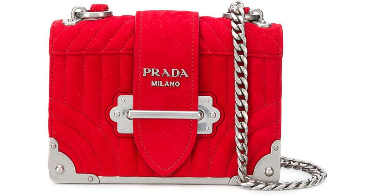 b47f3032555713 Prada Quilted Cahier Bag in Red - Lyst