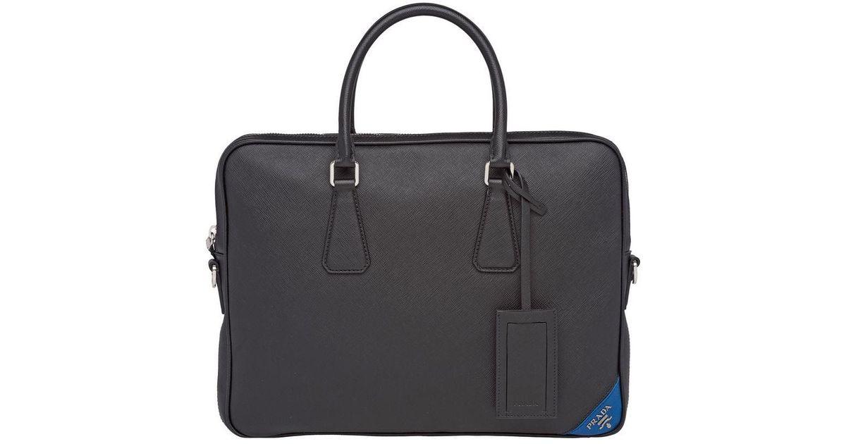 8e829f36f3c1 Lyst - Prada Saffiano Laptop Bag in Black for Men