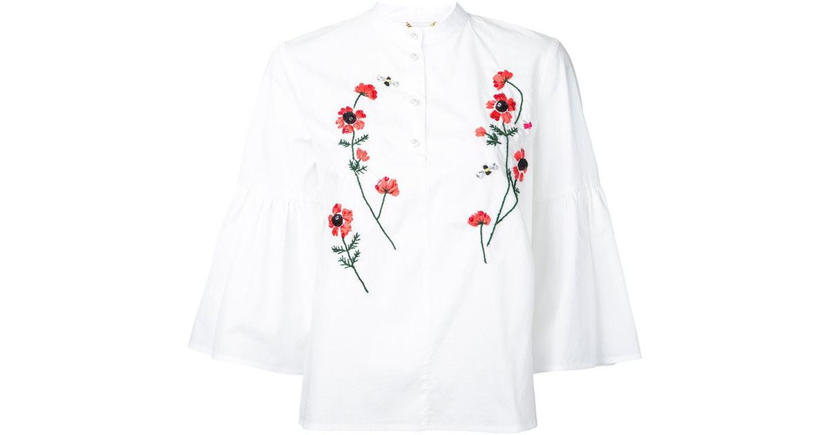 Lyst muveil embroidered flower blouse in white mightylinksfo