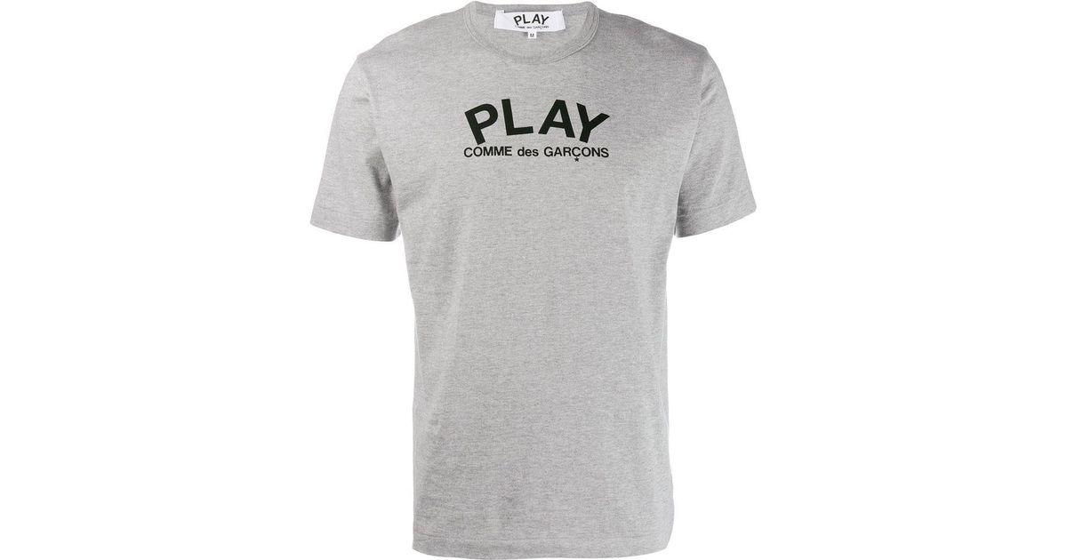 c296fa8a873d COMME DES GARÇONS PLAY Logo Round Neck T-shirt in Gray for Men - Lyst