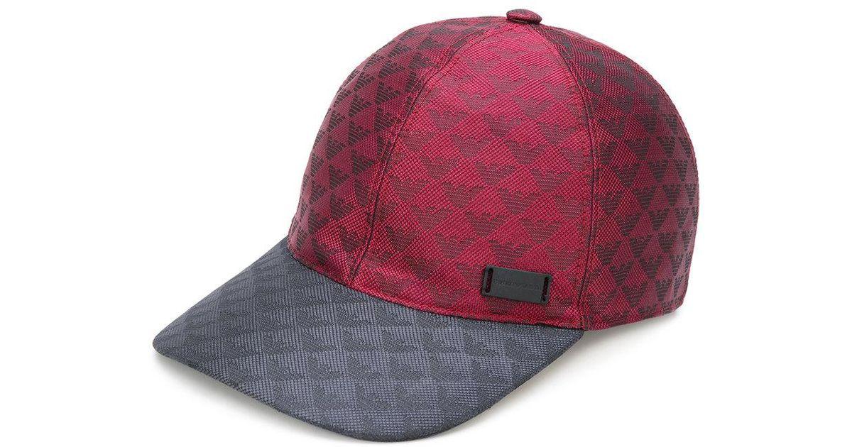 b86f92912b67a Lyst - Emporio Armani Logo Baseball Cap in Red for Men