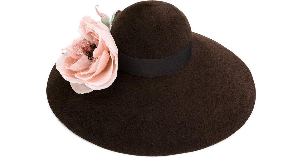 157d9175 Lyst - Gucci Corsage Wide Brim Hat in Brown