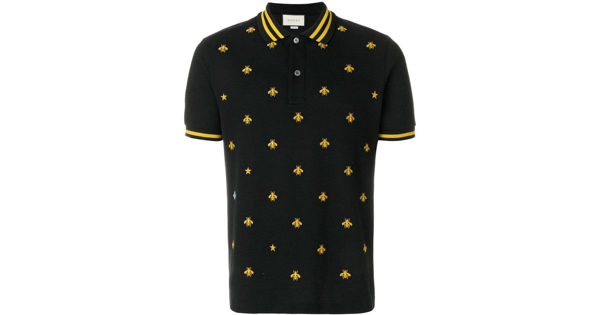 8b1e658a2236 Gucci Embroidered Bee Polo Shirt in Black for Men - Lyst