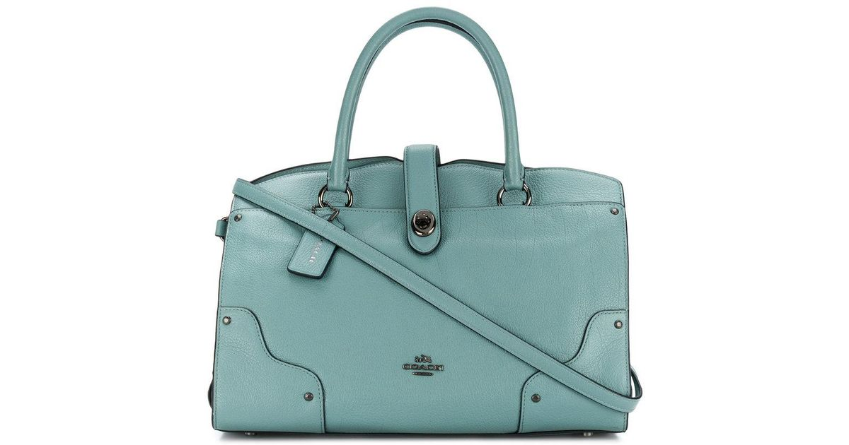 92ce2ed4d9b5 Lyst - Coach Tote Bag With Turn Lock in Blue