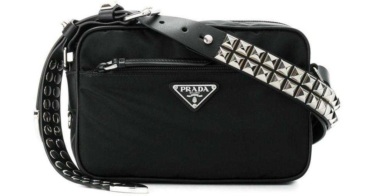 23d7e8b90958 Prada Black Studded Strap Textile Shoulder Bag in Black - Lyst
