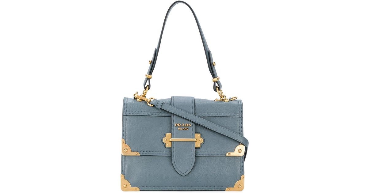 58c34fab4504be ... shopping prada cahier shoulder bag in blue lyst f4189 6fb7b