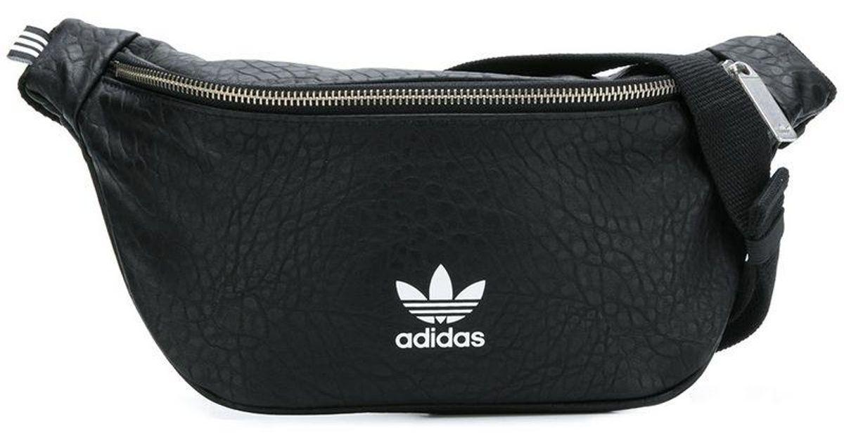 Lyst - adidas Originals Snakeskin-effect Logo Belt Bag in Black for Men dd8586e49a3f