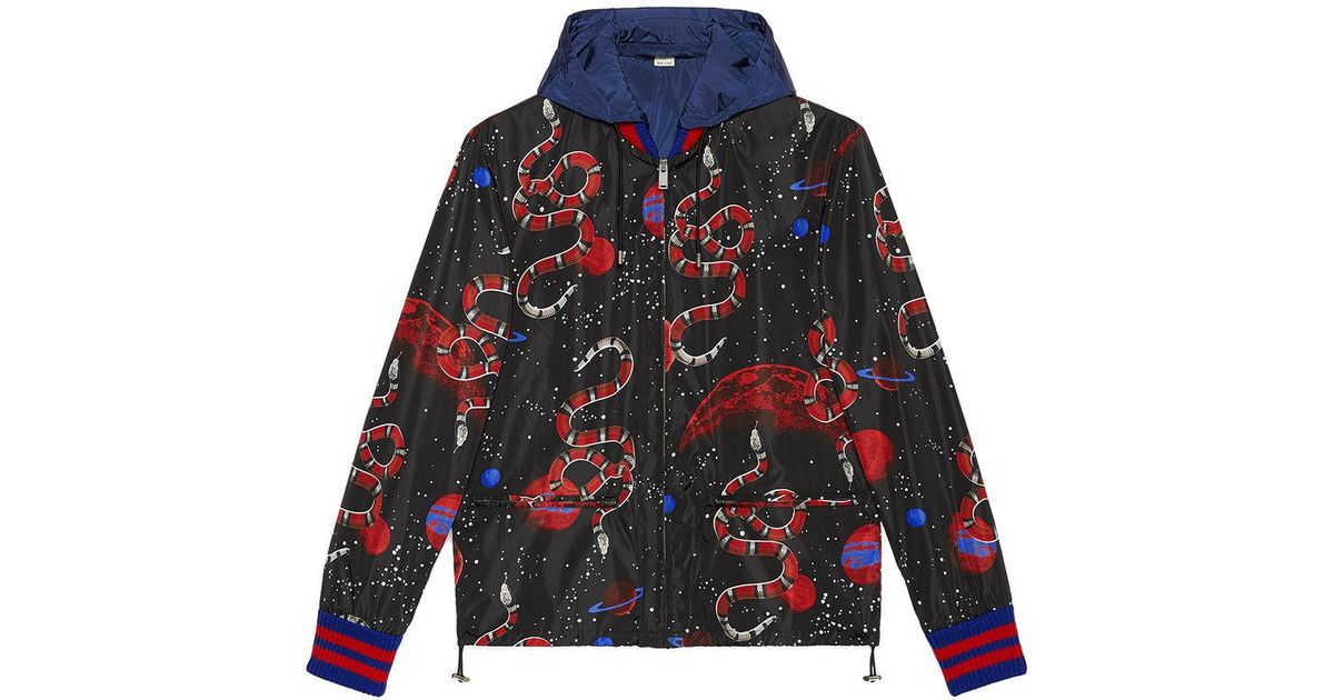 105c804a0 Gucci Space Snake Print Windbreaker in Black for Men - Lyst