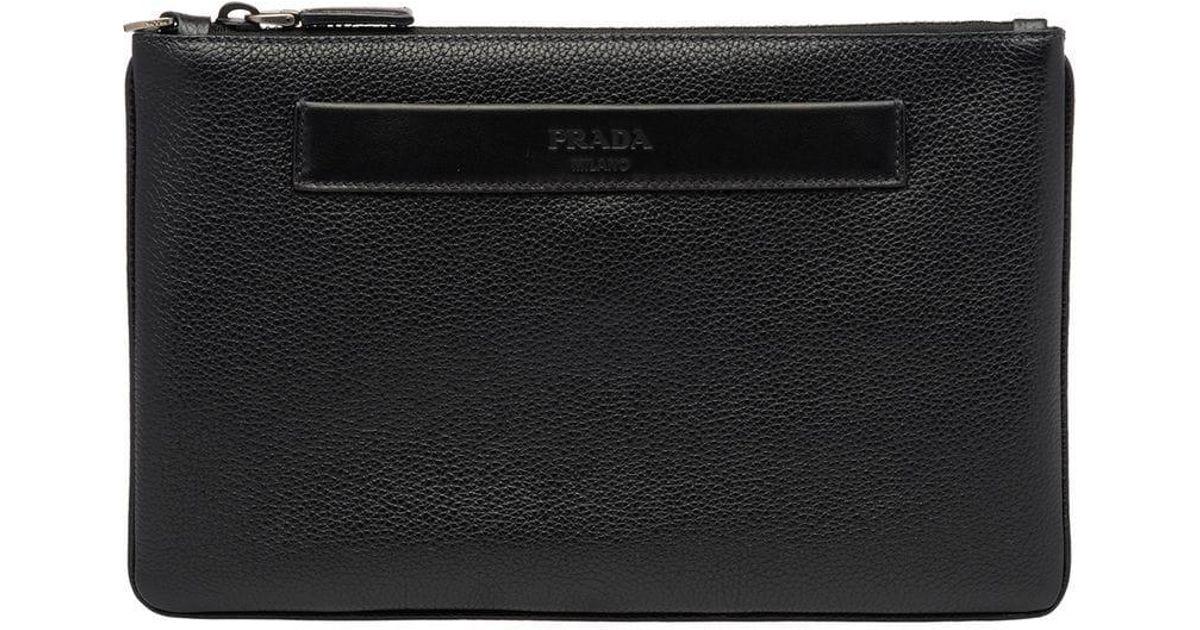 53917a11a68f Lyst - Prada Logo Pouch Bag in Black for Men