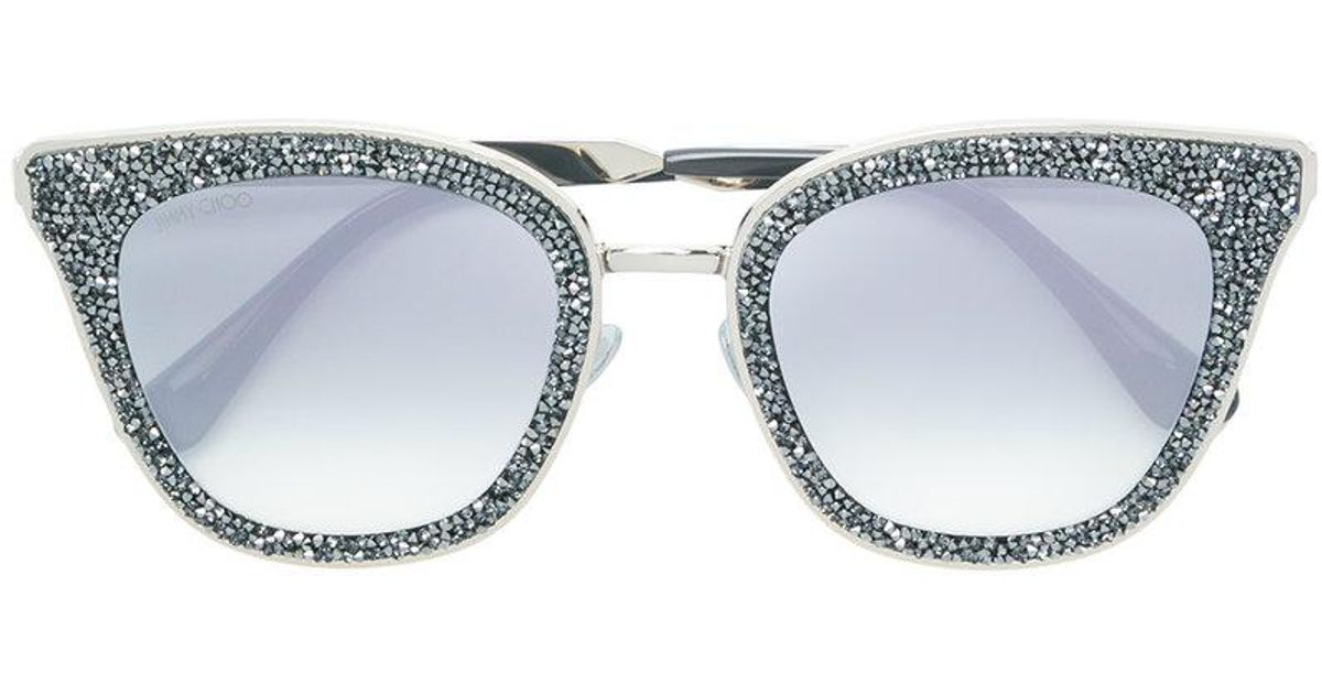 2fb6bfdce8 Jimmy Choo Lizzy 63 Crystal Embellished Sunglasses in Metallic - Lyst