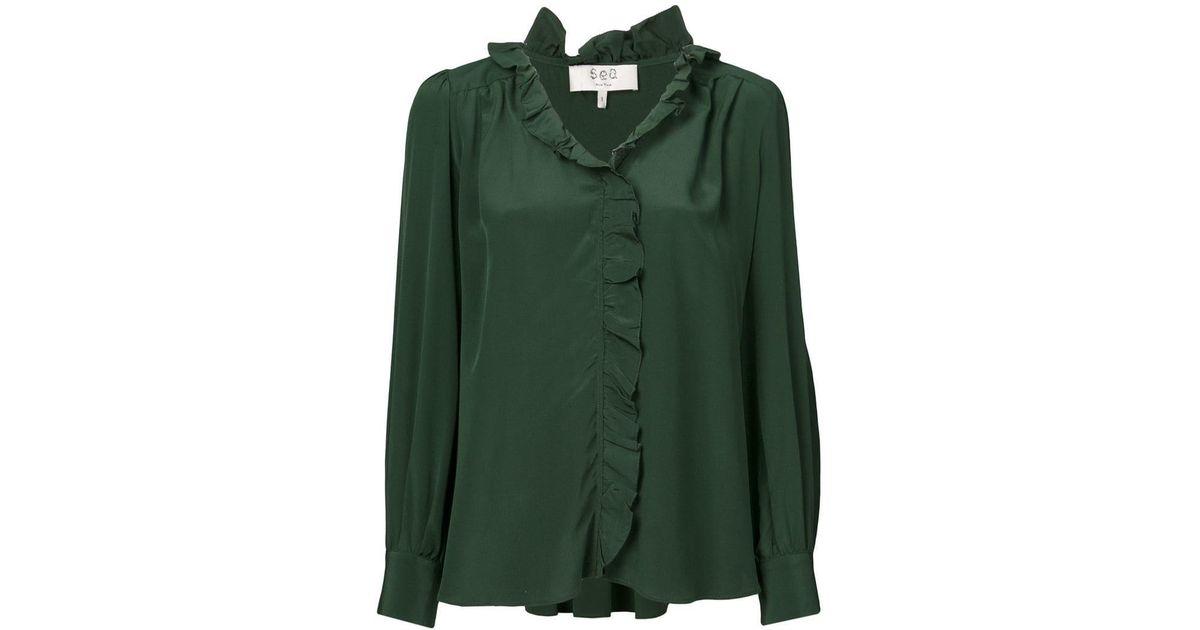 0846619ffe76e6 Sea Solange Ruffle Shirt in Green - Lyst