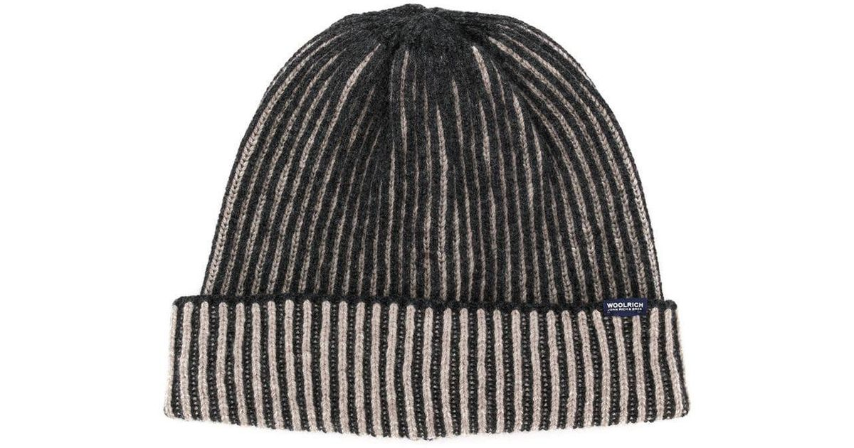 Lyst - Woolrich Ribbed Beanie Hat in Gray for Men 238c8d3b27c