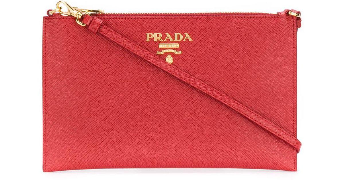 Lyst - Prada Saffiano Clutch Bag in Red - Save 5% e85214c34f8f3