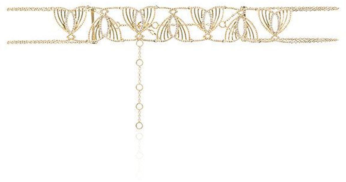 Gold Papillon choker with diamonds Yvonne L H90e7Bz