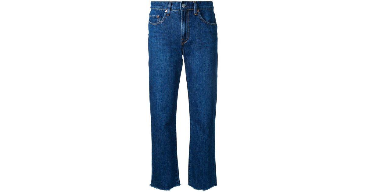 Nobody denim charlotte ankle custom in blue lyst for Custom dress shirts charlotte nc