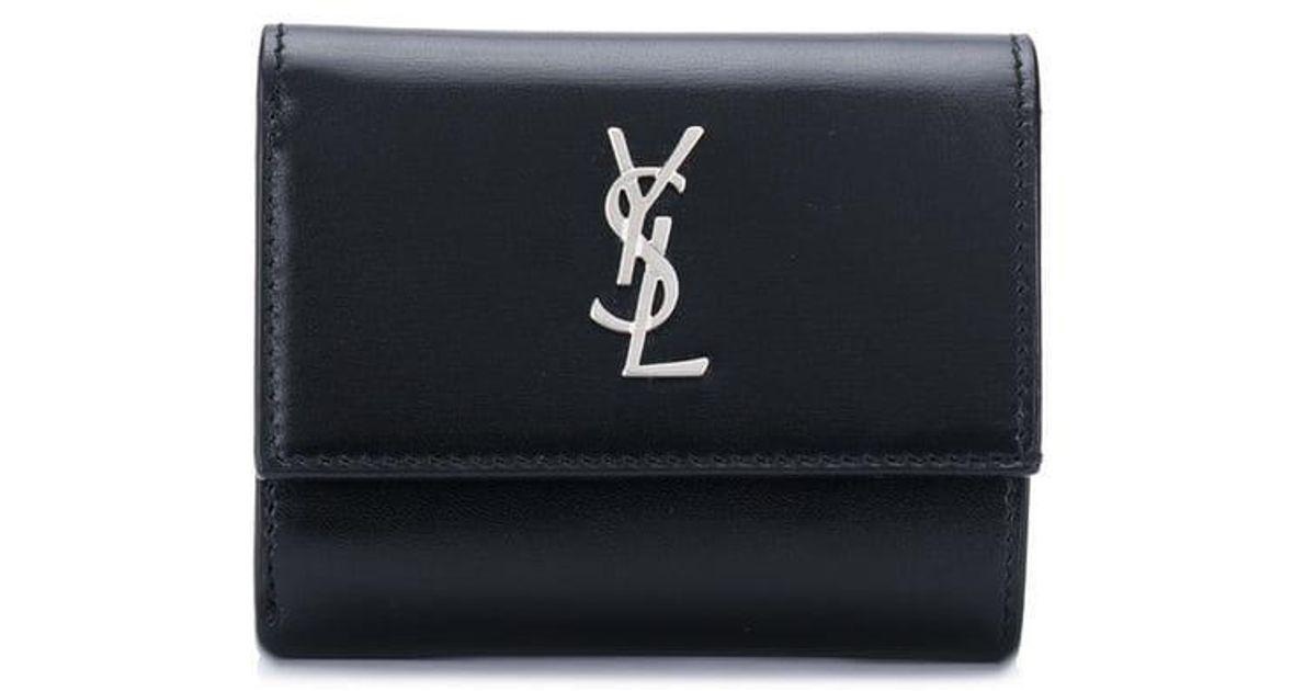 b70e7db42d0 Lyst - Saint Laurent Trifold Logo Wallet in Black for Men
