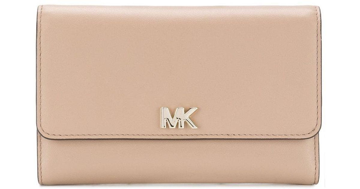 50c1a1dfd560d Lyst - MICHAEL Michael Kors Mott Large Wallet in Natural