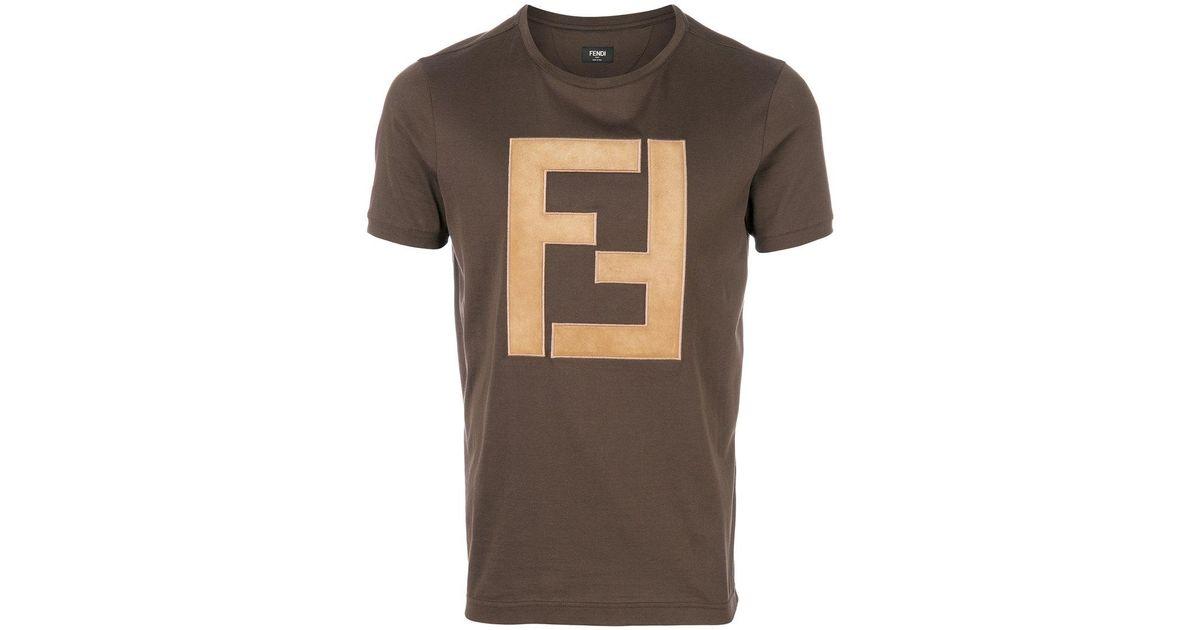e319e3f1 Fendi Ff Logo T-shirt in Brown for Men - Lyst