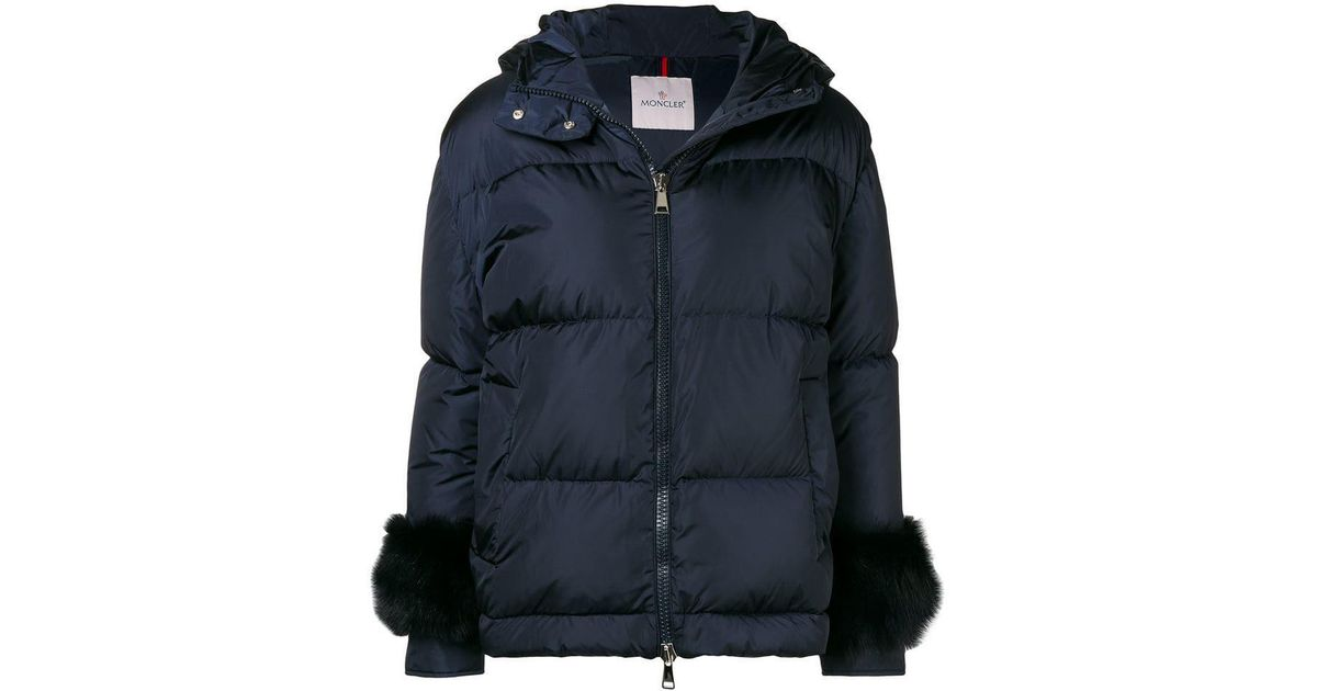 871b43a9924 Moncler Fur-embellished Down Jacket in Blue - Lyst