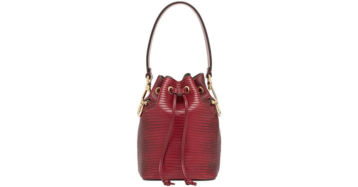 0066925f2c91 Lyst - Fendi Mini Mon Tresor Bucket Bag in Red