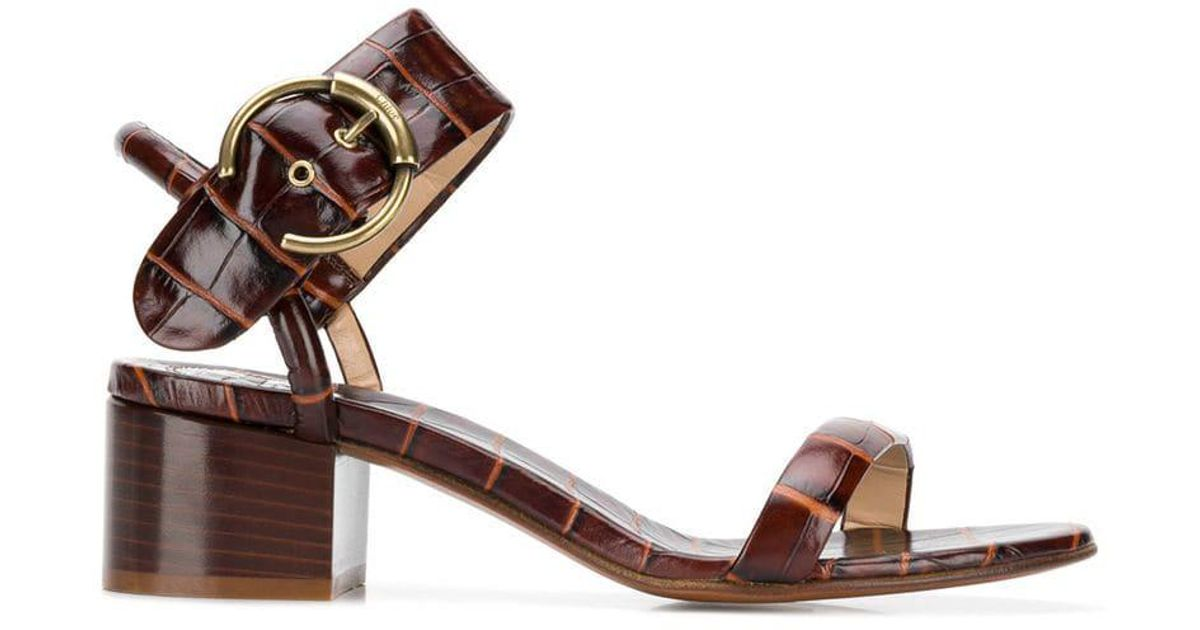 a197955641 Chloé Roy Block-heel Sandals in Brown - Lyst