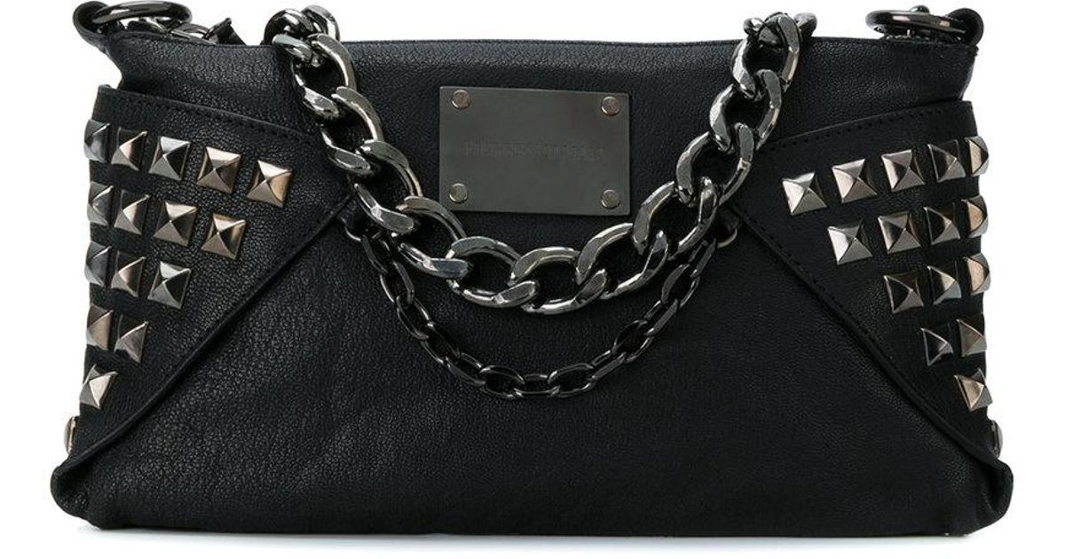 0ec44a3db1 Balmain Studded And Chain Detail Shoulder Bag in Black - Lyst
