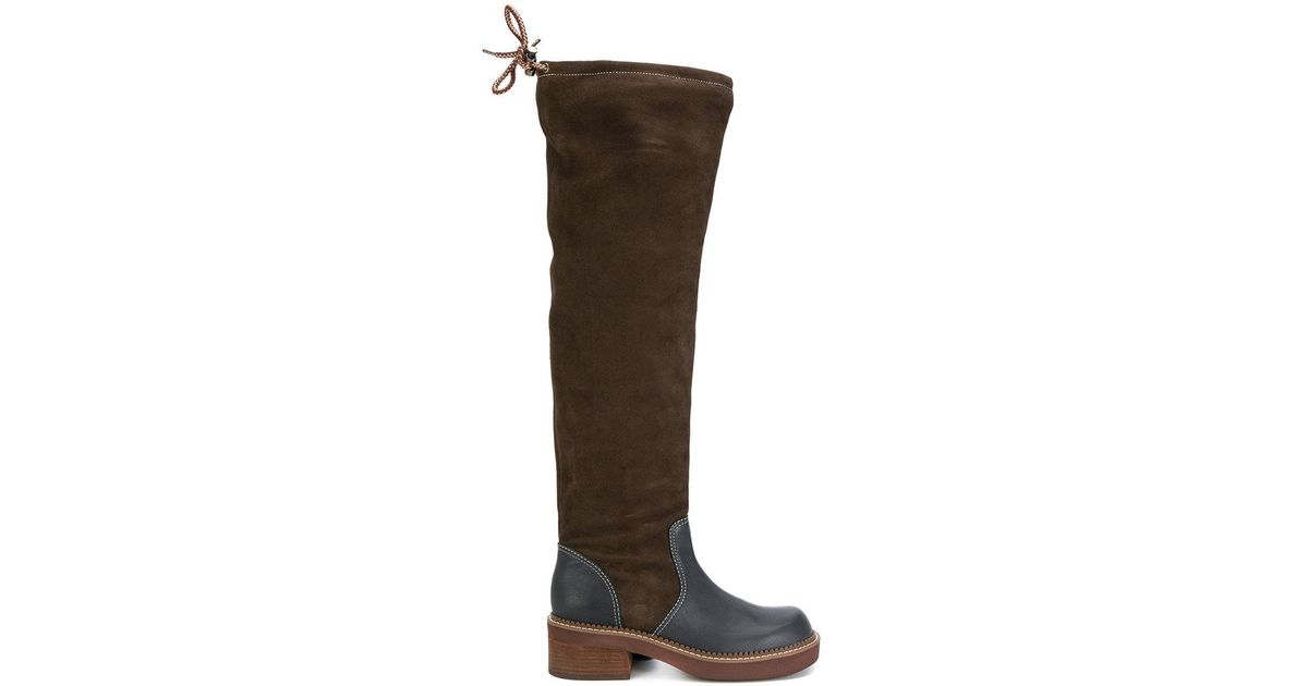 Dominika suede and leather knee-high boots See By Chloé 2yjoDEeY7V
