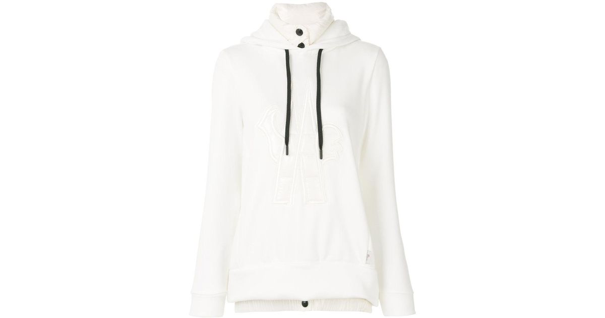44a03eb62228 Lyst - Moncler Grenoble Logo Patch Hooded Sweatshirt in White