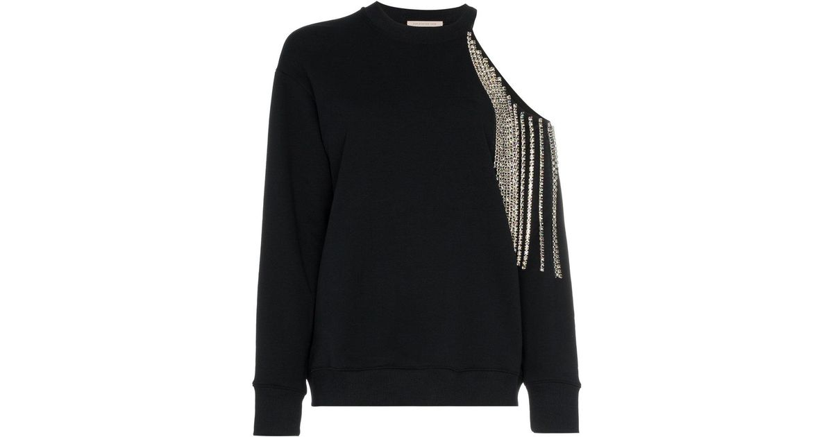 diamante fringed cold-shoulder cotton sweatshirt - Black Christopher Kane Clearance 2018 New Professional Online Reliable Online Free Shipping 2018 New ouZWGi3
