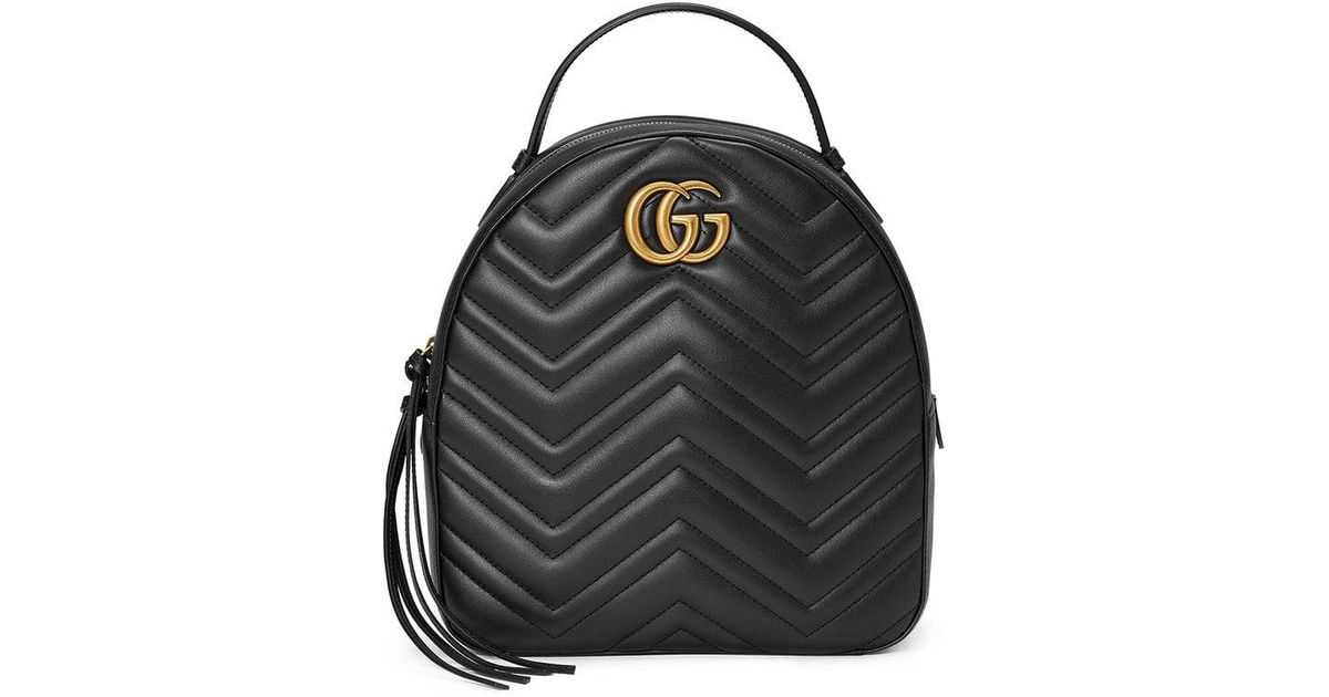 8e487ab404 Gucci Gg Marmont Matelasse Quilted Leather Backpack - in Black - Lyst