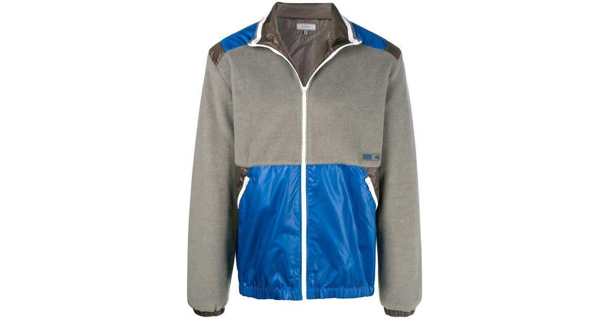 5b7c14195 Lanvin Panelled Fleece Jacket in Gray for Men - Lyst