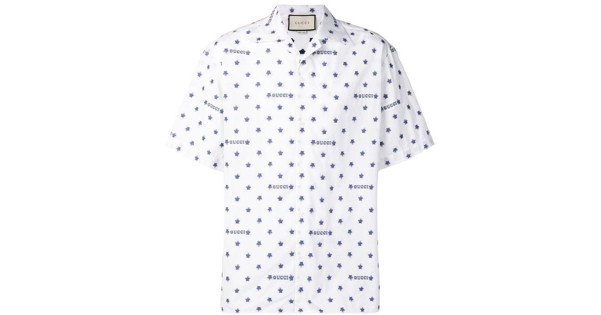 f02322f483a6 Gucci Star And Logo Print Cotton Shirt in White for Men - Lyst