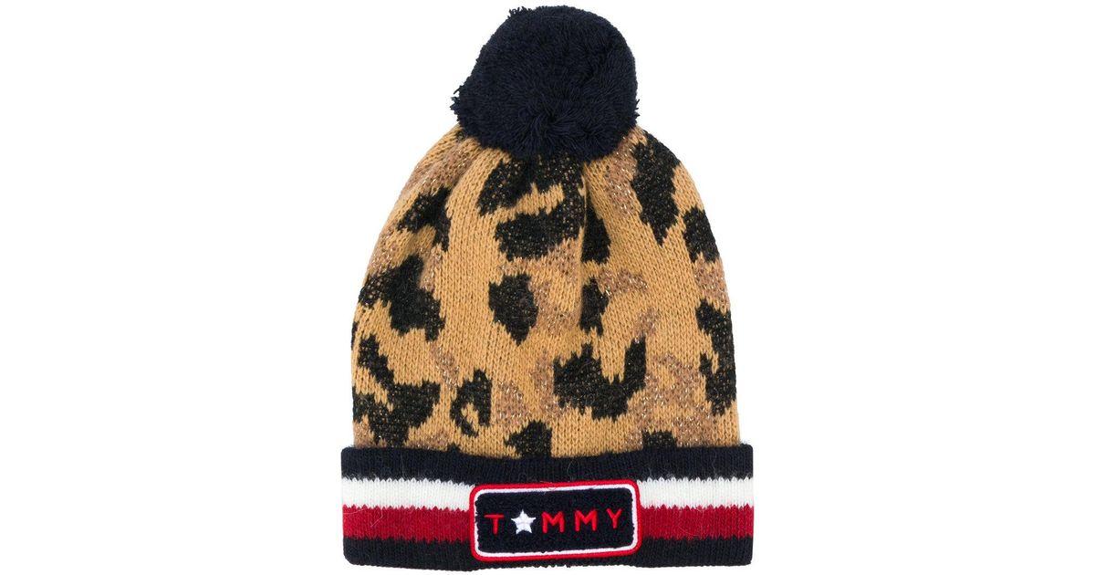 b5aa478b4cd5d Tommy Hilfiger Logo Stripe Leopard Beanie Hat - Lyst