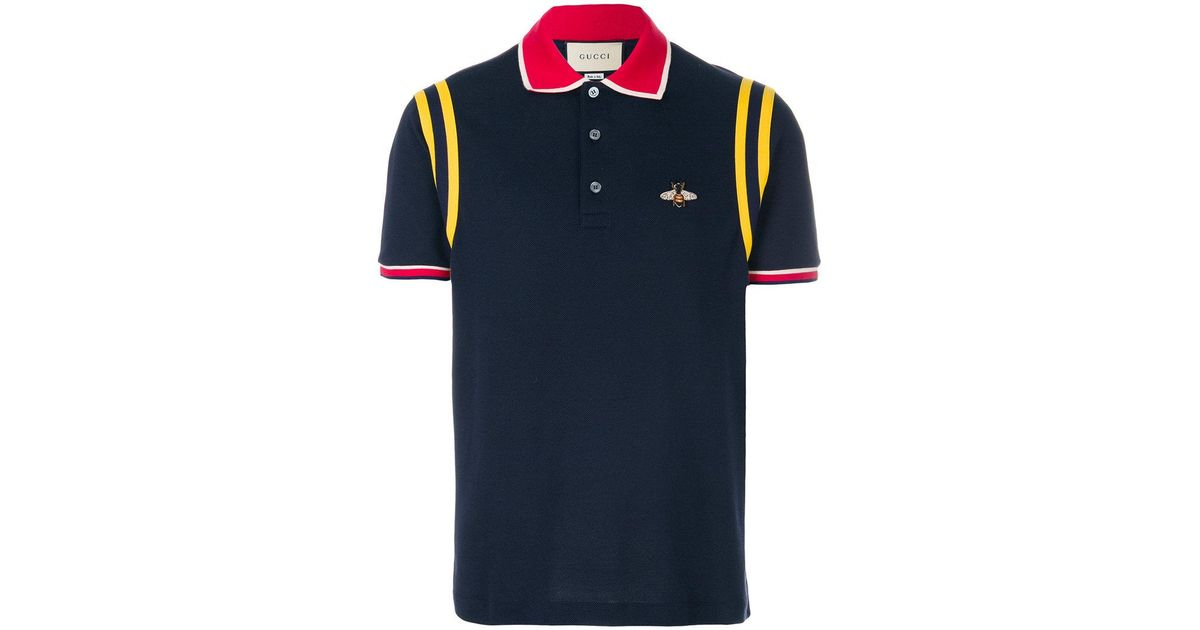 3fca49f91d7 Lyst - Gucci Bee Patch Polo Shirt in Blue for Men