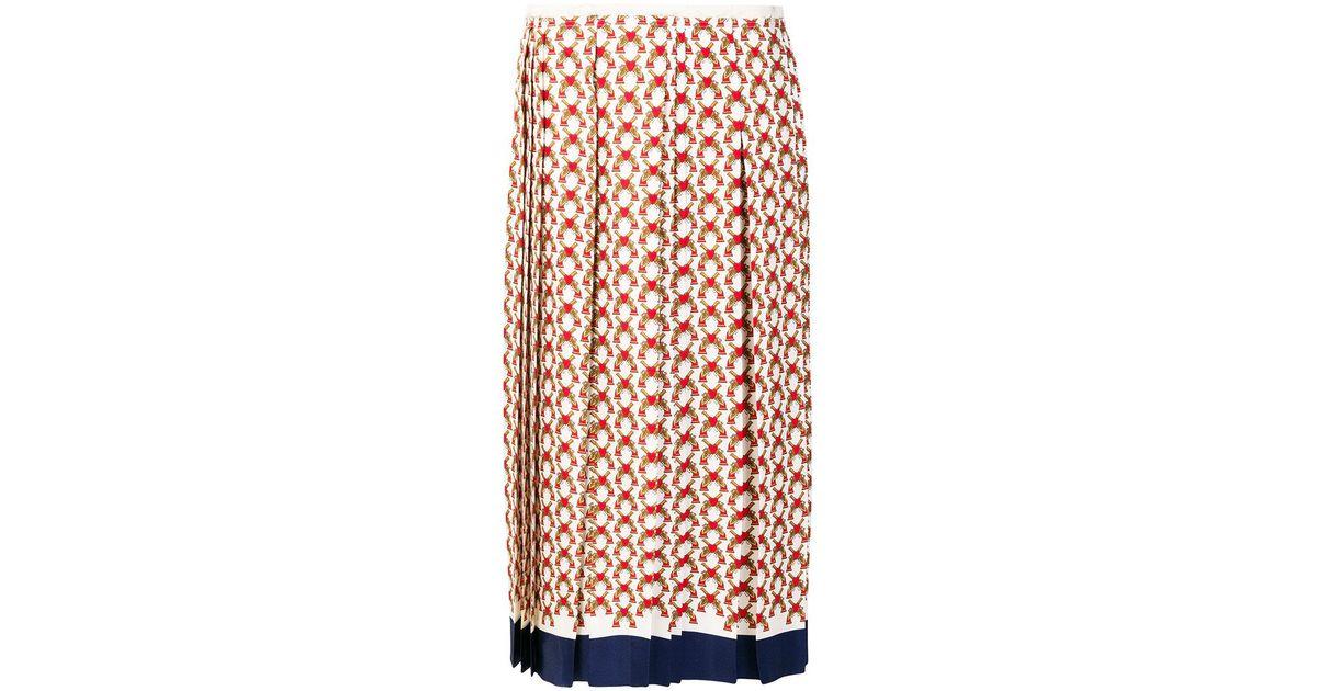 588beb0b7ceb Gucci Heart Print Pleated Skirt - Lyst