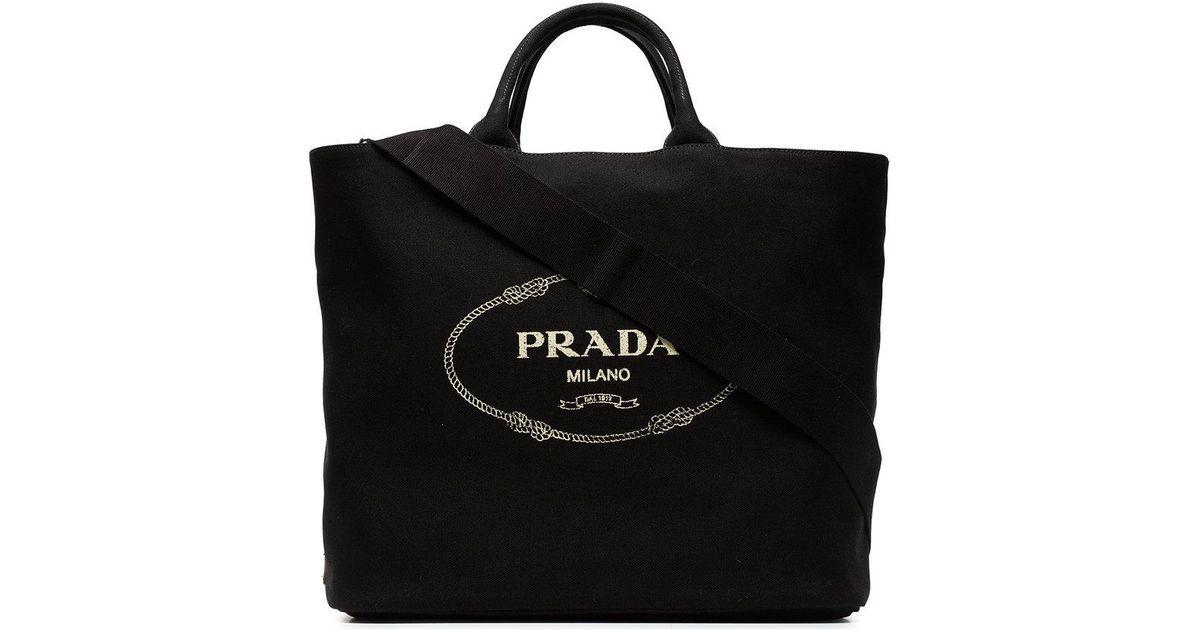 681ebb0be Prada Black Gardener Large Cotton Tote in Black - Lyst