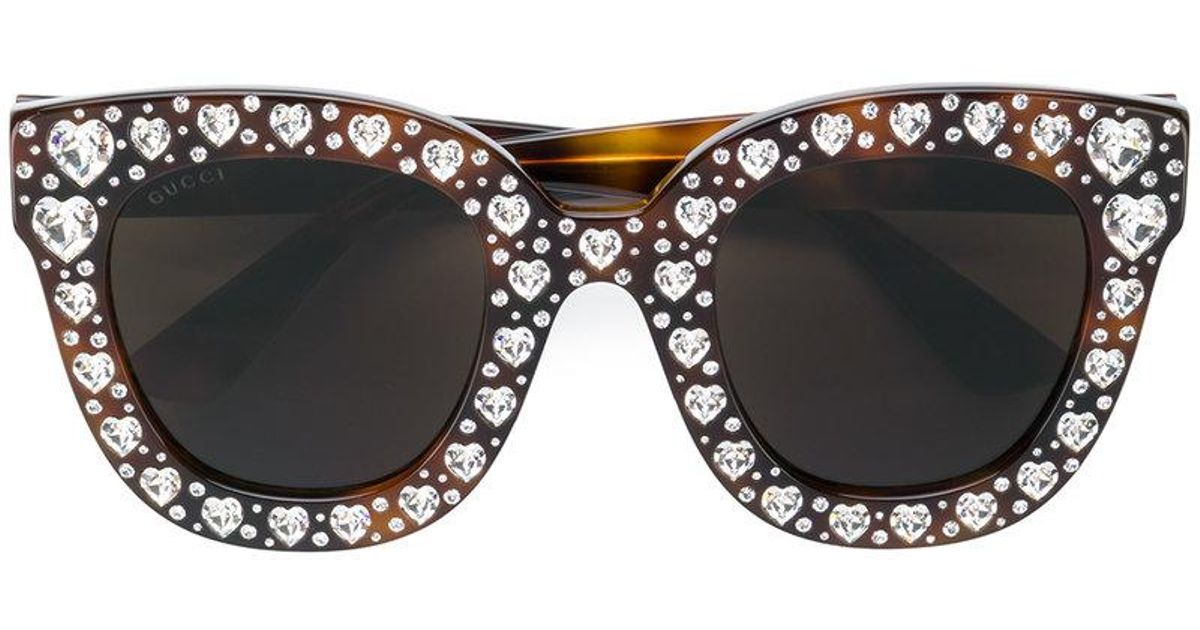 577d6232094 Gucci Heart Shaped Embellished Sunglasses in Brown - Lyst
