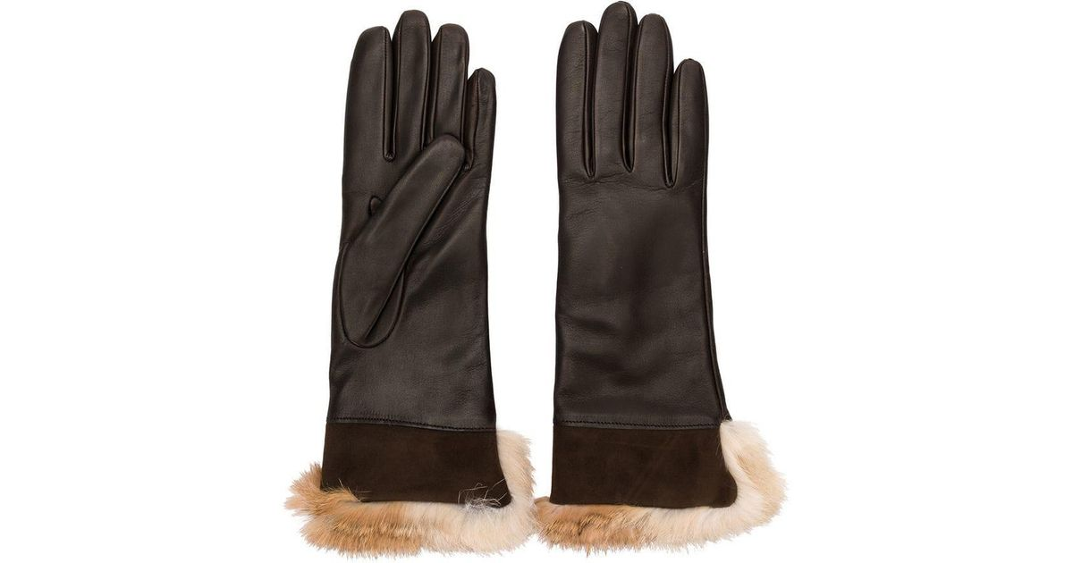 efc466a51d710 Lyst - Gala Rabbit Fur Gloves in Brown