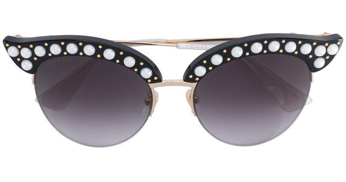 4947910443da Lyst - Gucci Faux Pearl Cat-eye Sunglasses in Black