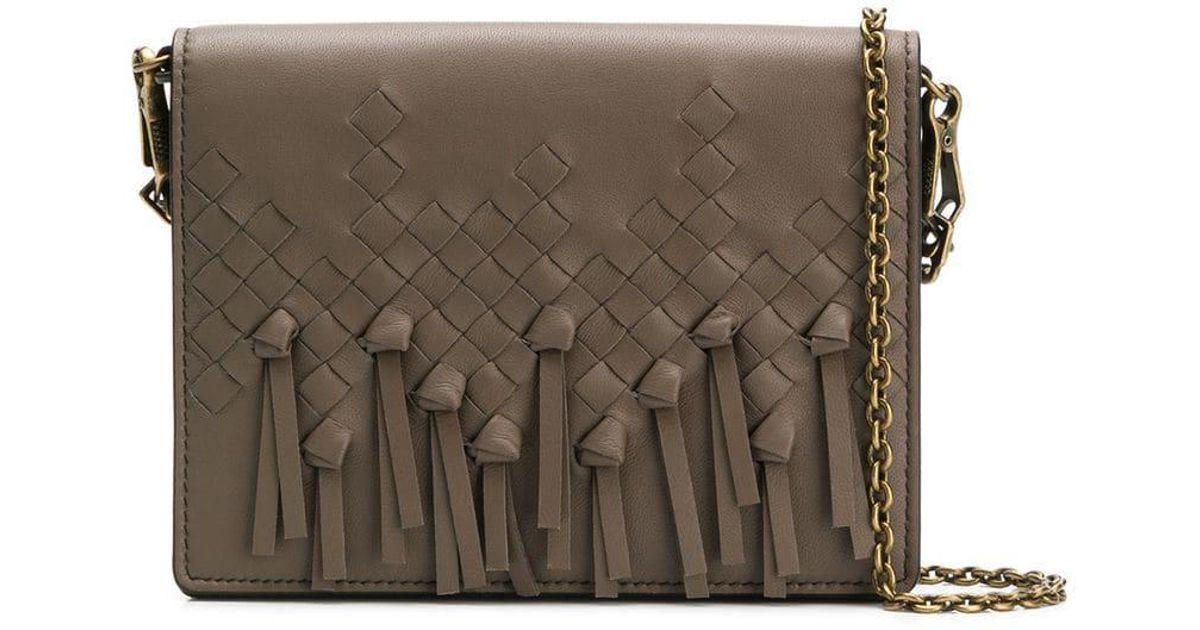 eb22970f5b Bottega Veneta Intrecciato Fringed Cross Body Bag in Brown - Lyst