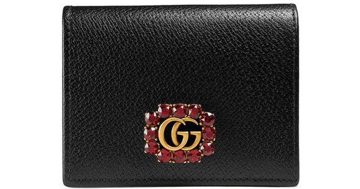 b97061ec4cc9c8 Gucci Leather Card Case With Double G And Crystals in Black - Lyst