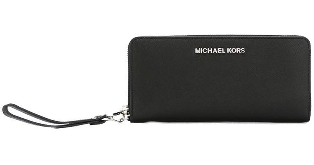 854aa3246b88 Lyst - Michael Kors Wrist Strap Wallet in Black