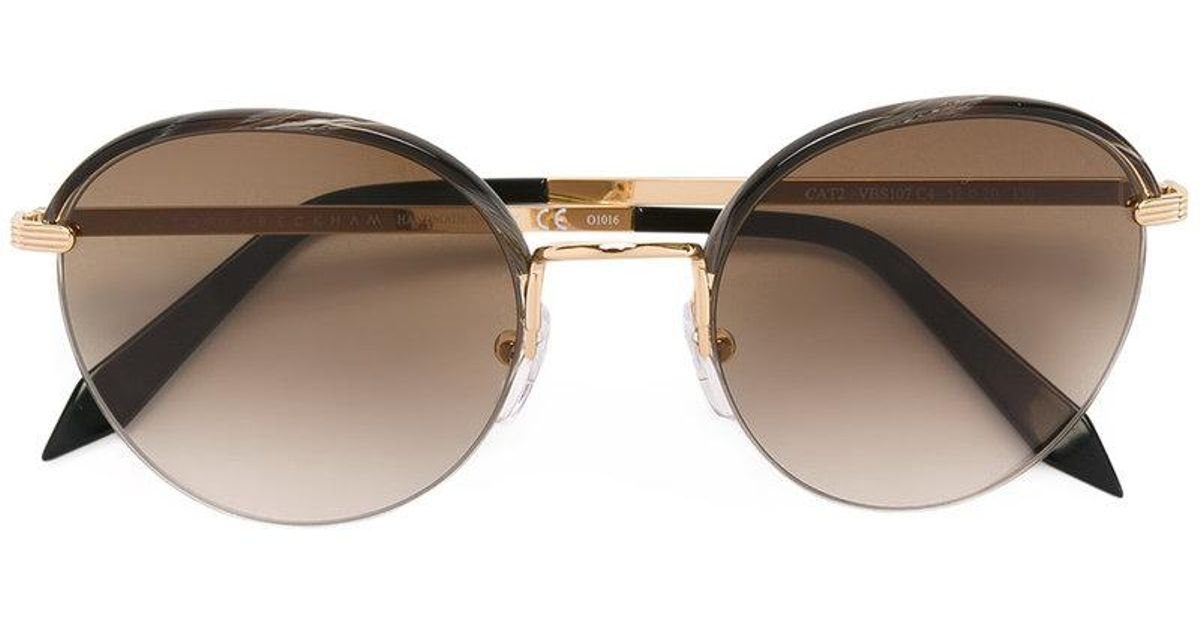 3443b698106 Victoria Beckham Windsor Round Sunglasses in Metallic - Lyst