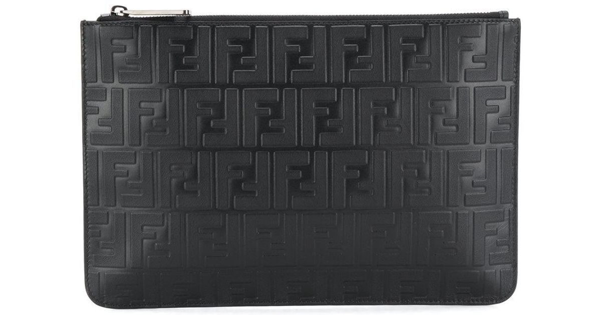 embossed FF pouch bag - Black Fendi BxgnmlqJ