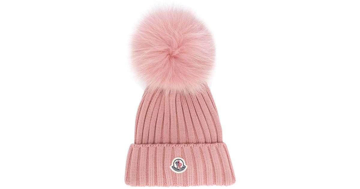 67532079064ee6 Moncler Pom Pom Beanie in Pink - Lyst