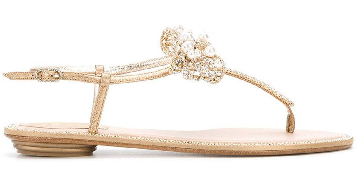 c3e673a66afd4 Rene Caovilla Floral Embellished Sandals in Metallic - Lyst