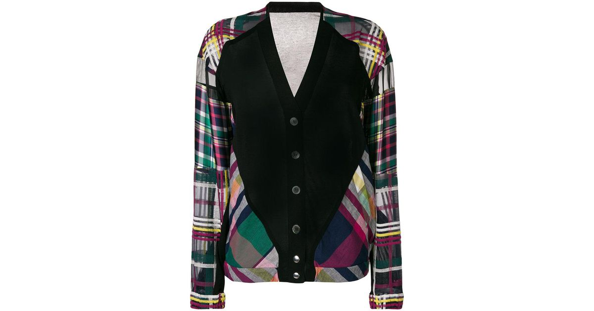 plaid panel cardigan - Multicolour sacai Cheap Purchase zxHnMozvED